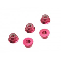 M4 Aluminium flange nylon nut red (5pcs)