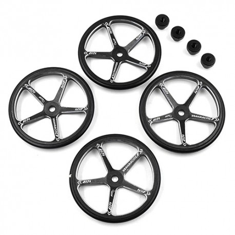 Aluminum Set Up Wheels For 1:10 M Chassis Black