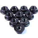 4mm Aluminium SerratedLock Nut 10pcs (BK)