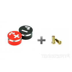 1up Racing LowPro Bullet Plugs & Grips 5mm - Black